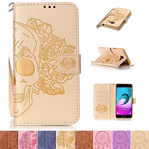 - Galaxy A310 2016 Case, Galaxy A3 2016 Case, Firefish Kickstand Flip Folio [Card Slots] Wallet Cover with [Magnetic Closure] [Wrist Strap] Protective Case for Samsung Galaxy A310 2016- Skull-J