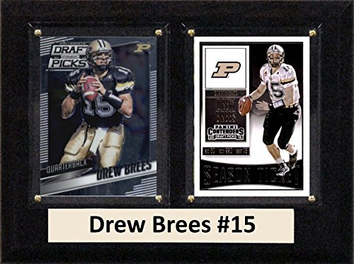 "C&I Collectables NCAA Purdue Boilmakers Men's Drew Brees Two Card Plaque, Brown, 6""X8"" from C&I Collectables"