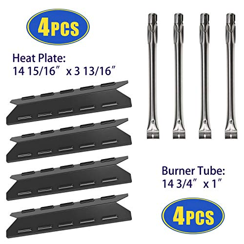 (Bigbox BBQ Grill Heat Shields and Grill Burners Replacement for BBQ Pro 146.23676310, 146.23770310, 4 Pack Burner Tubes & Heat Plates for Kenmore Gas Grill 146.34611410, 146.16197210, 146.10016510)