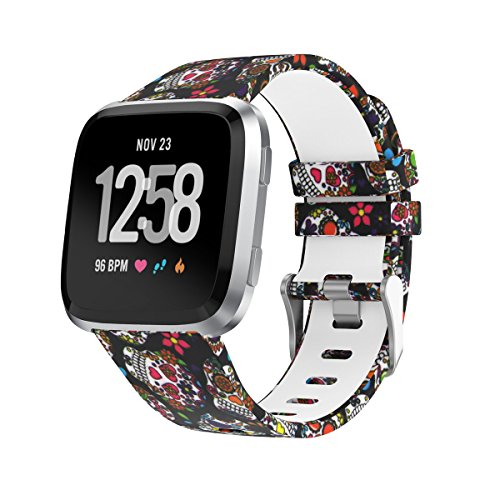 Amawell Fitbit Versa Band,Silicone Adjustable Replacement Sport Strap Printed Bands with Classic Buckle for Fitbit Versa Fitness Smart Watch (Floral Pattern-1, Large)