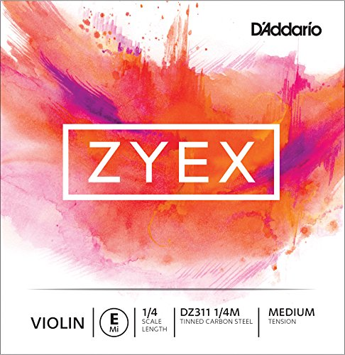 D'Addario Zyex Violin Single E String, 1/4 Scale, Medium Tension