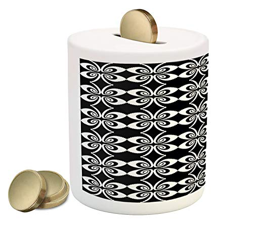 - Ambesonne Abstract Piggy Bank, Psychedelic Torsion Design with Mirrored Pairs Op Art Symmetric Arrangement, Printed Ceramic Coin Bank Money Box for Cash Saving, Black and White