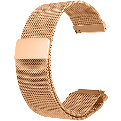 RuenTech 20MM Bands for Garmin Vivoactive 3 / Vivomove/Vivomove HR Bands, Metal Milanese Loop Bands for Garmin Vivomove/Vivomove HR and Vvoactive 3 GPS Smartwatch (Rosegold)