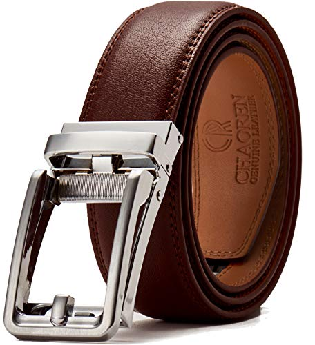 Leather Ratchet Belt for Men with One Click Buckle-Trim to Custom Comfort Fit and Adjustable Dress,Presented in a Gift Box