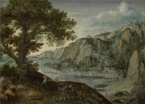 The Perfect Effect Canvas Of Oil Painting 'Lucas Van Valckenborch - Huy, Seen From Ahin,second Half Of 16th Century' ,size: 18x25 Inch / 46x63 Cm ,this High Quality Art Decorative Canvas Prints Is Fit For Wall Art Decoration And Home Decoration And Gifts (Huy's Costumes)