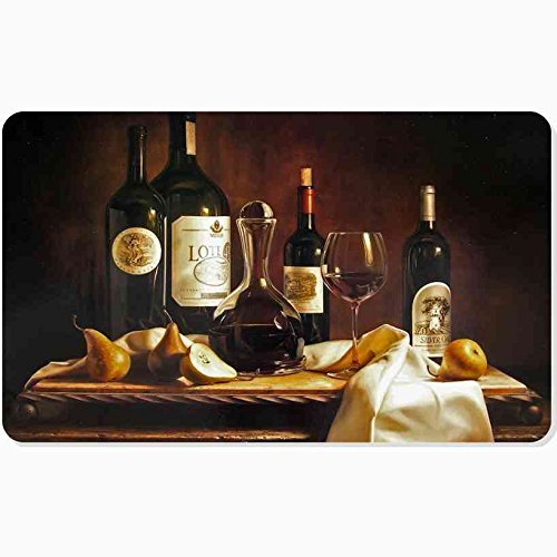(Doormat,Home Decor Door Mat/Pad Unique ized Indoor/Outdoor Floor Mat Design Drawing Painting Reproduction Still Table Wine Pears Table Cloth 18inchX30inch)