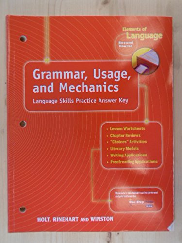 Elements of Language : Grammar, Usage and Mechanics: Language Skills Answer Key - Grade 8