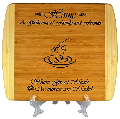 GIFT FOR FAMILY FRIEND HOUSEWARMING ~ Personalized 2-Tone Bamboo Cutting Board w/ Free Stand ~ 2-Sided Design, Engraved Side Designed For Décor, Reverse Side for Usage ~ Christmas Gift Birthday Gift