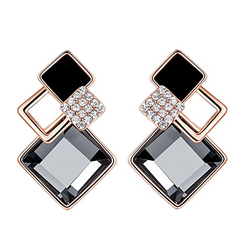 Women Fashion Earrings New Vogue DIY Crystal Earrings for Womens Jewellry(Black)