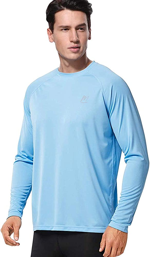 Men's UPF 50+ Sun Protection Long Sleeve Shirts, Quick Dry UV Swim T Shirt Rash Guard Athletic Top for Workout Running Hiking