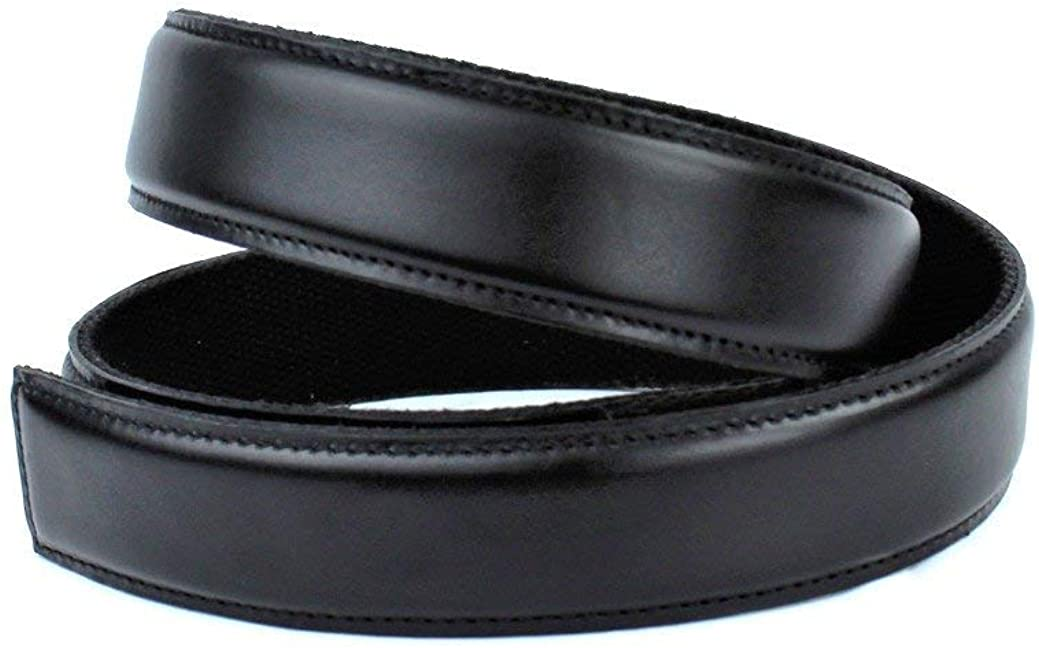 Black Leather Belt, no holes and no buckle needed, magnetic technology, clac belt