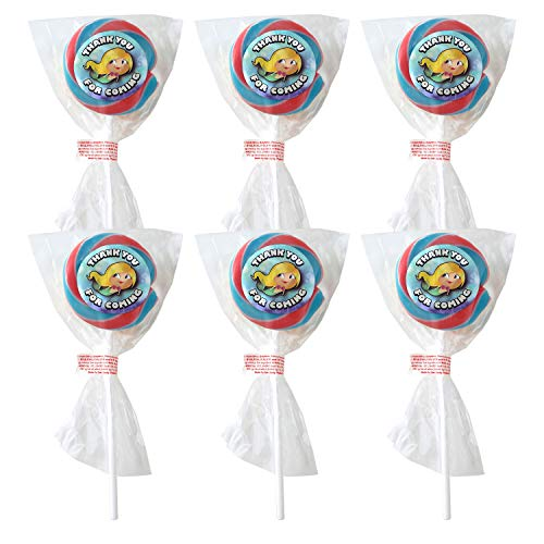Cherish Her Party Bag Lollies MERMAID Bubble Gum Flavour Lollipops x 6 Girls Lolly Pops Metallic 'Thank You For Coming' Stickers