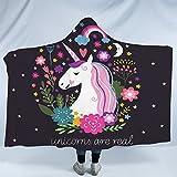 Sleepwish Hooded Unicorn Blanket for Kids Girls Cartoon Unicorn with Flowers Fleece Blanket Black Pink Sherpa Blanket (50''x 60'')