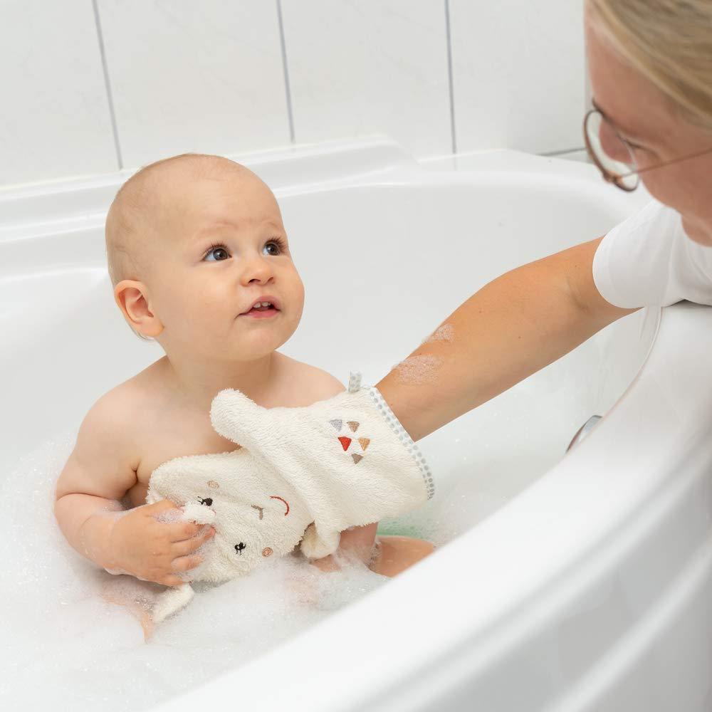 Taufe oder als Geschenk zum Geburtstag ab 0+ Monaten Waschlappen personalisiert zur Geburt FEHN Kinder//Baby Biene Waschhandschuh mit Namen bestickt und Tiermotiv