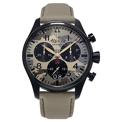 Alpina Men's 'STARTIMER PILOT' Quartz Stainless Steel and Leather Casual Watch, Color:Beige (Model: AL-372MLY4FBS6)