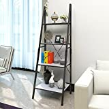 Lifewit Leaning Ladder Bookshelf, 4 Tiers Bookcase Display Wall Storage Shelf Unit, Carbon Steel