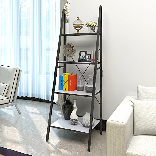 Rack Magazine Ladder (Lifewit Leaning Ladder Bookshelf, 4 Tiers Bookcase Display Wall Storage Shelf Unit, Carbon Steel)