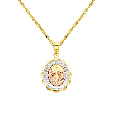 Amazoncom 14k Tricolor Gold Religious Baptism Pendant with 12mm