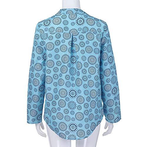 Boutons Clair Pois Grande Longue LianMengMVP Taille Bleu Blouse Vous Manche Chemise Femmes Impression ArrTez Tops cY6qwr6F8