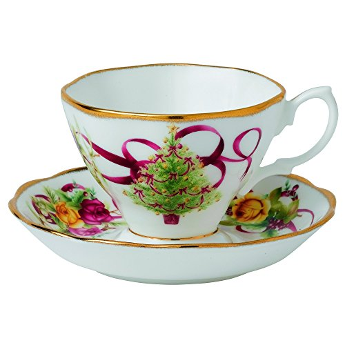 - Old Country Roses Christmas Tree Teacup and Saucer Set