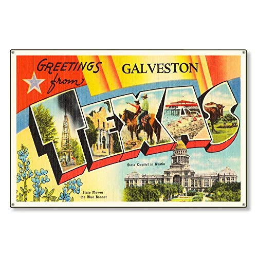 MAIYUAN Galveston Texas tx Old Retro Vintage Travel Postcard Reproduction Metal Sign Art Wall Decor Steel Sign Tin Sign 8x12 inch