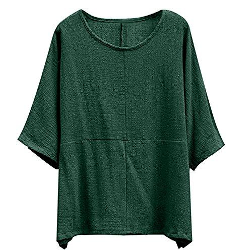 de Ample Chemisier Chic Dames Casual Chemise T Mode Tops Vert Shirt Taille Femme Linge Femme Hauts Grande Sexy Tunique Longues Pull Solide Automne LEvifun Manches Coton Blouse Over gTPPz