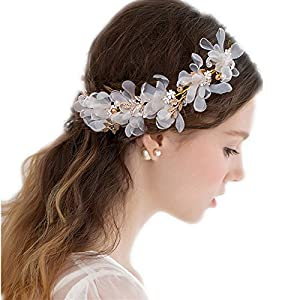 the love Wedding Headdress or Bride Accessories, Silk Flowers Headpieces Headwear Accessories for Wedding or Party, with Ribbon (White) 94