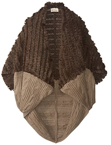 La Fiorentina Women's Faux Fur and Cable Knit Cocoon Wrap, Brown/Camel, One Size