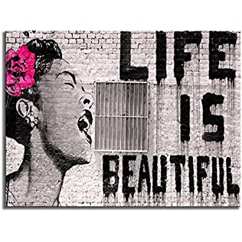 Wieco Art Banksy Life is Beautiful Modern Gallery Wrapped Giclee Canvas Prints Artwork Grey Love Abstract Pictures Paintings on Canvas Wall Art Ready to Hang for Bedroom Home Office Decorations