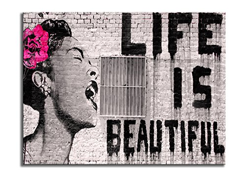 Wieco Art Banksy Life is Beautiful Modern Gallery Wrapped Giclee Canvas Prints Artwork Grey Love Abstract Pictures Paintings on Canvas Wall Art Ready to Hang for Bedroom Home Office Decorations - Art Artwork Print