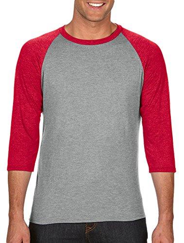 Anvil Cap Sleeve T-shirt (Anvil Adult Tri-Blend 3/4-Sleeve Raglan T-Shirt, HthrGry/Hthr Red, X-Large)