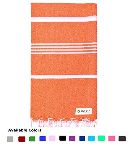 Turkish Cotton Bath Beach Spa Sauna Hammam Yoga Gym Hamam Towel Fouta Peshtemal Pestemal Blanket Orange (Hamam Turkish Bath)