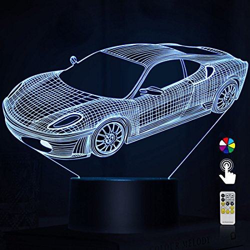 Night Lights for Kids Car 3D Night Light Small Night Lamp 7 Colors Change with Remote 3D Nightlight Help Kids Feel Safe at Night Perfect Birthday Gift for Kids