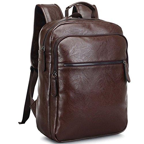 Mefly Los Hombres Mochila De Cuero De Alta Calidad Viajes Juveniles Mochila Mochila Escolar Masculino De Negocios Laptop Bagpack Bolso,Brown brown