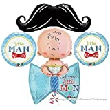 LITTLE MAN MUSTACHE BABY SHOWER BALLOONS BOUQUET DECORATIONS SUPPLIES IT'S A BOY WELCOME BABY