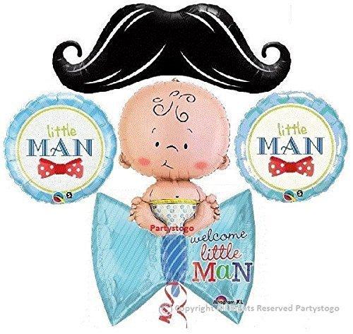 Little man mustache baby shower balloons bouquet