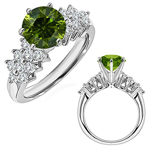 1.72 Carat Green Diamond Engagement Wedding Anniversary Halo Bridal Ring 14K White And Yellow Gold