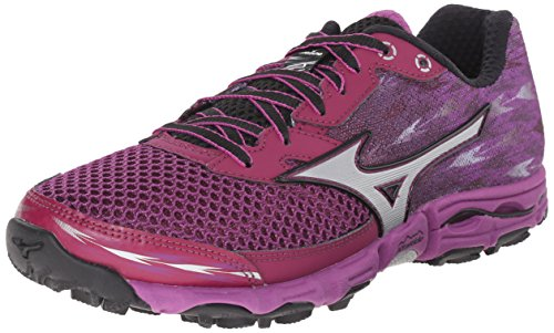 Mizuno Wave Hayate de la mujer 2-W Running Shoe Purple-Silver-Black
