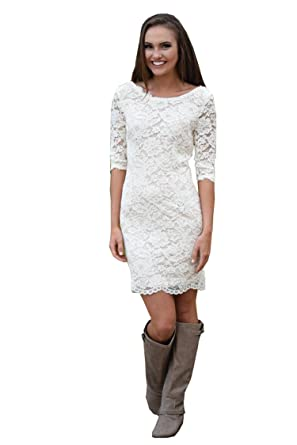 Short Lace Wedding Dress.Qijunge Women S Short Lace Wedding Dresses Long Sleeves Country