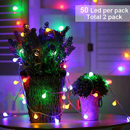 Twinkle Star 50 LED RGB Globe String Lights Battery Operated Christmas Decorative String Lights, Color Changing String Lights for Indoor Party Wedding Bedroom, 2 Pack