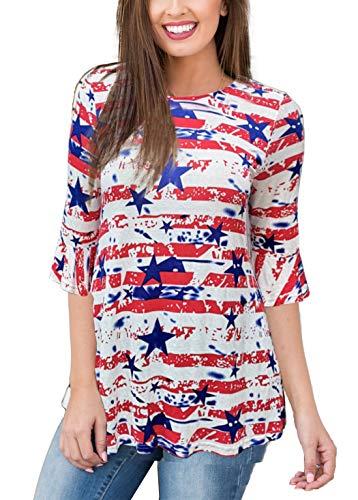 - iGENJUN Women's Scoop Neck 3/4 Ruffle Detailed Sleeve Floral Tops Blouse,DG12,M