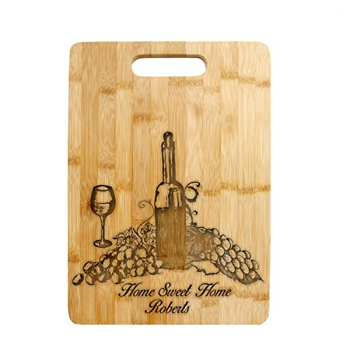 Cutting Chopping Board - Personalized Carving Board Laser Grape Wine Design (CCB-204 Large-) (Carving Grape)