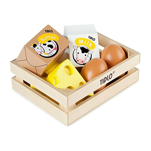 Tidlo Wooden Eggs and Dairy, Multi Color