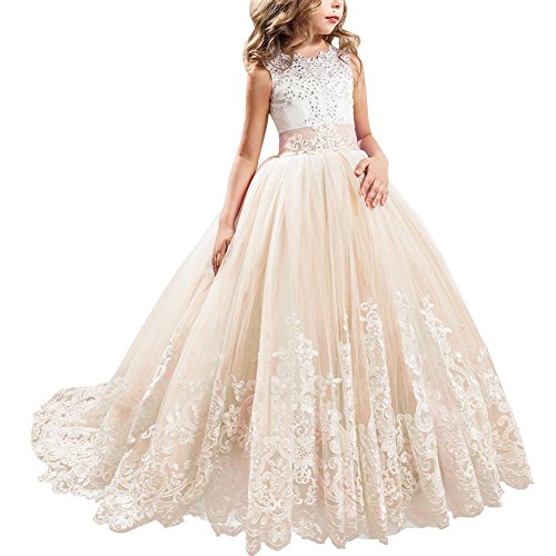 Little Big Girls' Flower Lace Princess Long Pageant Dresses Prom Tulle Ball Gown Wedding Bridesmaid Floor Length Dance Evening #A Champagne 10-11 Years