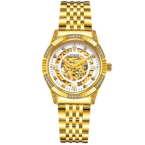 (BINLUN Women's 18K Gold Luxury Automatic Watch 50 Meter Waterproof )