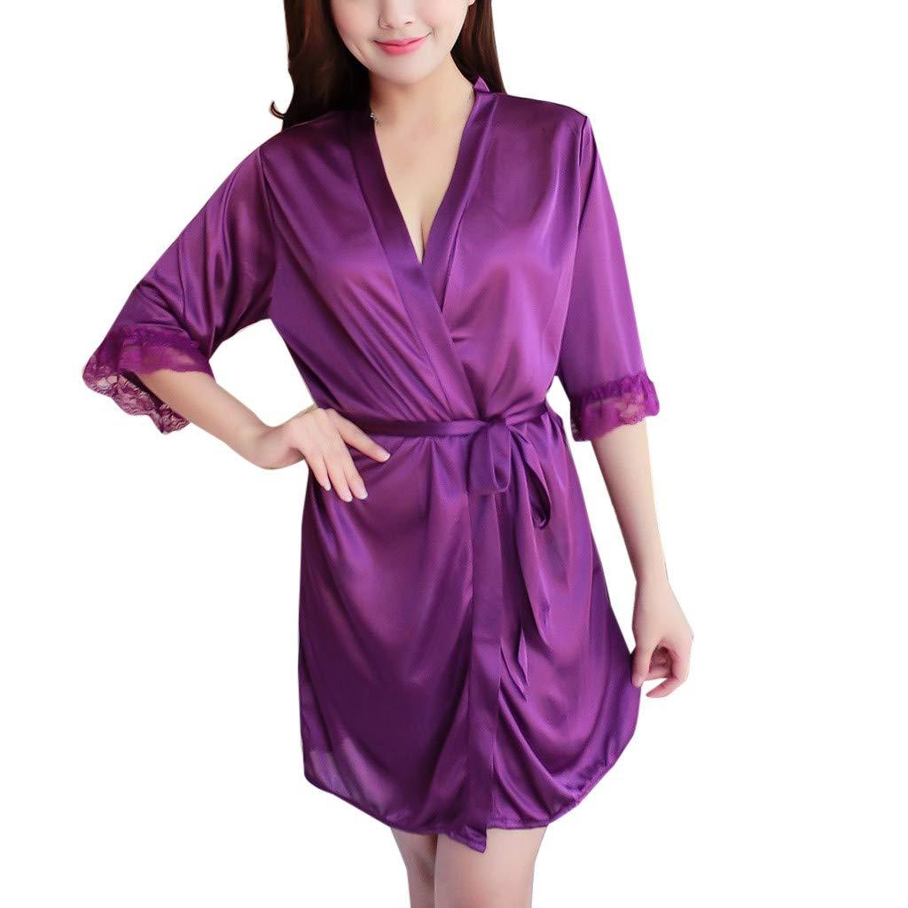 Womens Sexy Pajamas Ice Silk Temptation Lingerie Sleepwear Underwear Night Gown Purple