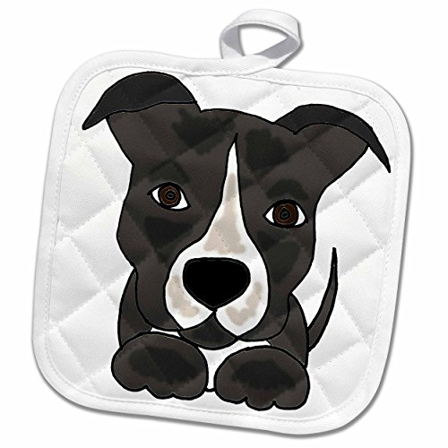3D Rose Funny Grey Pitbull Puppy Dog Cartoon Pot Holder, 8 x 8,