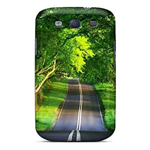 Unique Design Galaxy S3 Durable Tpu Case Cover A Canopy Of Trees Covering The Road