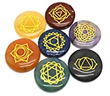 Healing Crystals 7 Polished, Engraved Stones to Balance Chakras Holistic Health Care Products