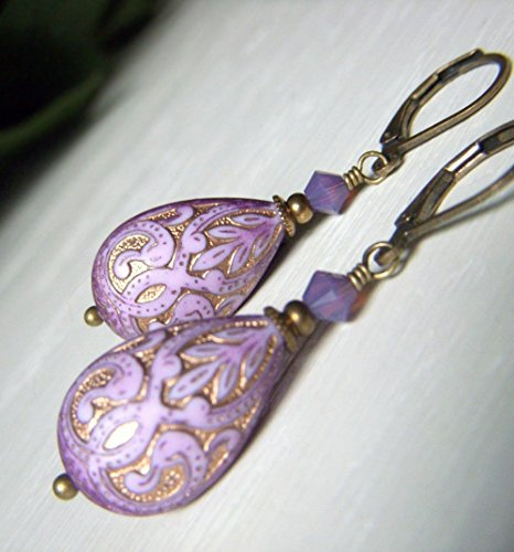 Lavender Lucite Earrings - Teardrop Brass Dangle - Vintage Inspired Etched Bead